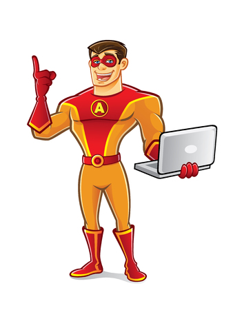 handsome cartoon superhero wearing a mask is standing point up and carrying notebook