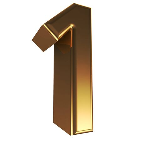 one to one: Number 1 in gold Stock Photo