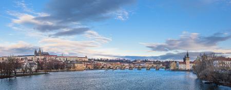 vltava: panorama of Prague, Vltava River, Charles Bridge