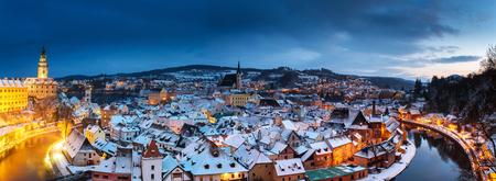 Panoramic view of Cesky Krumlov in winter