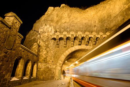 visegrad: blurred movement on the night street tram in Prague