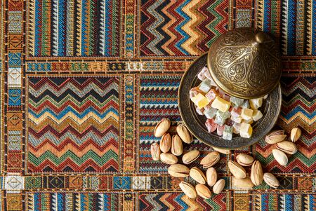 sweets on the traditional Arabian carpet