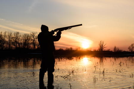 upland: Silhouette of a hunter at sunset in the water with a gun.