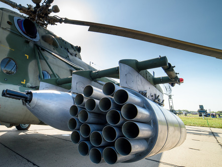August 27, 2017. Novosibirsk, Russia. Russian military helicopter and its armament at the air show. Editorial