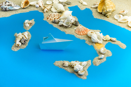 Paper ship worth saving Italy. Map of Italy and the islands.