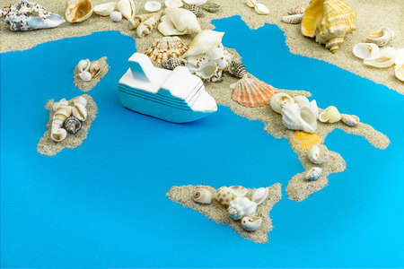 Model of the cruise liner. It is worth saving Italy. Map of Italy and the islands.