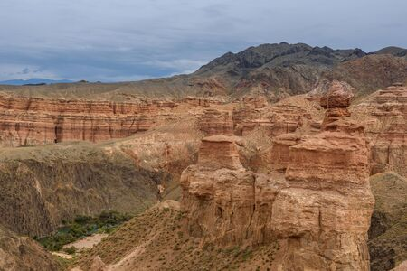 Charyn Canyon, Charyn River Valley. Red rocks and vertical canyon. Almaty region, Kazakhstan.