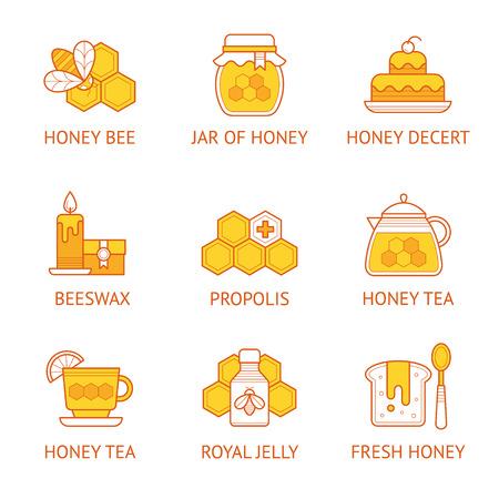 Icône linéaire vectorielle sertie de signes de produits de miel et d'apiculture.