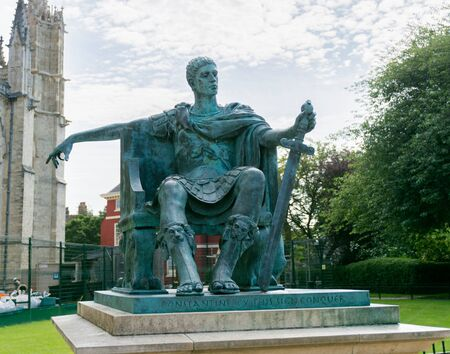 Emperor Constantine in bronze at York cathedral where he was proclaimed in 306 ad Stock Photo