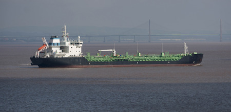 Freight ship Terry at sea passing the Severn Crossing in the Bristol Channel
