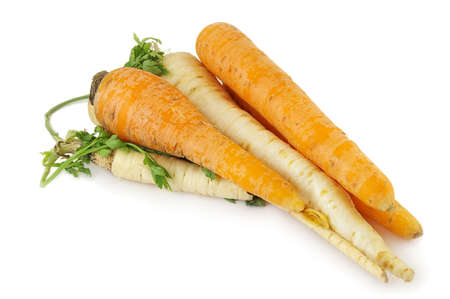 Carrots and Parsnips isolated on white.