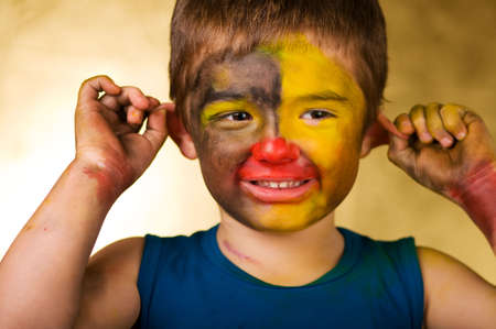 little boy and a cheerful make-up photo