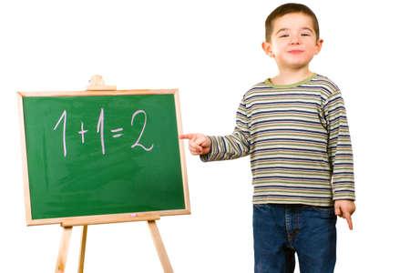 Boy with blackboard Stock Photo