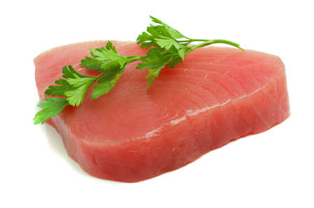 filet of tuna and parsley Stock Photo