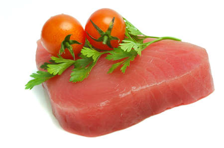filet of tuna, parsley and cherry tomatoes