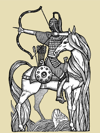 Vector-Illustration with beautiful rider on a horse.Vector sketch for tattoo Vetores