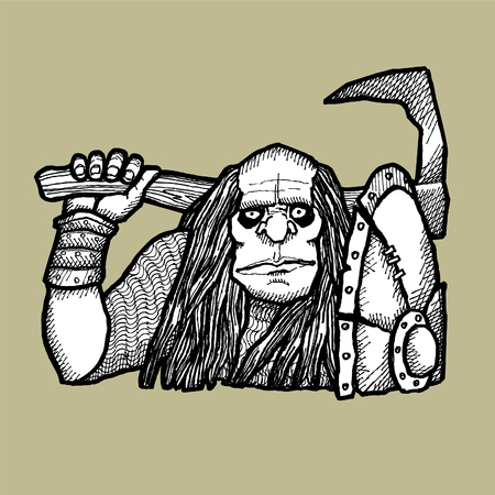 frightful: Vector-Illustration terrible orc with an axe.Vector sketch for tattoo Illustration