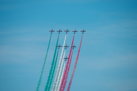Aerobatic team performs flight at the air show