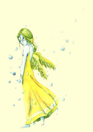 fairy with yellow-green wings and babbles