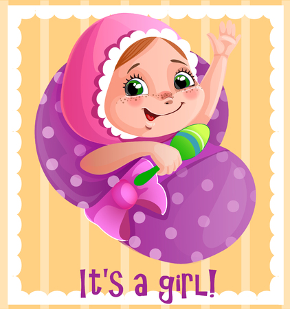 it s a girl: It s a girl vector greeting cart, template for invitation or congratulation