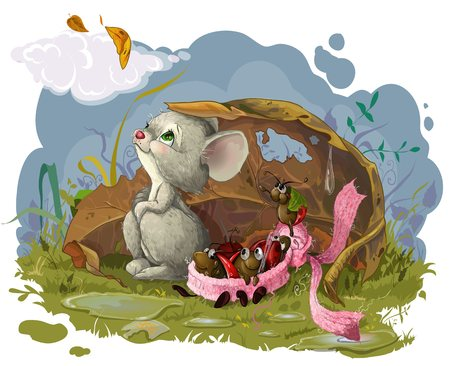 Vector resizible picture with Autumn, mouse and bugs in scarf