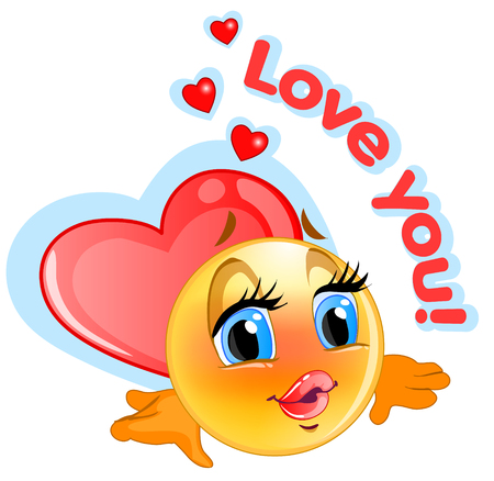 ap: Loved emoticon sticker with blue background for messenger and ap