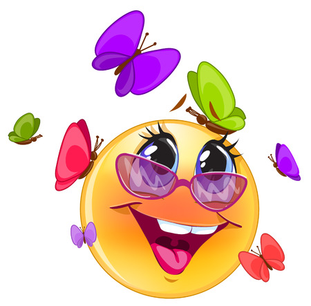 Happy emoticon, with blue background for messenger and applicati