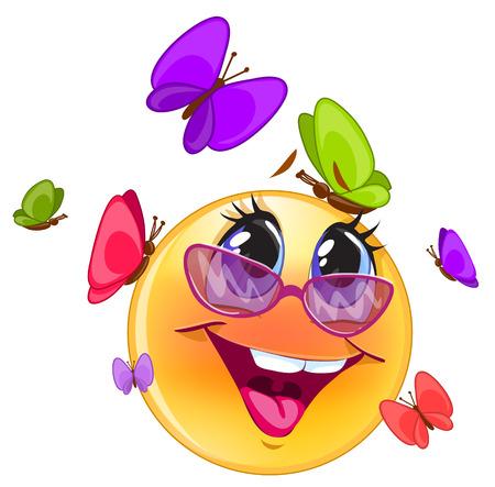 Emoticon heureux, avec fond bleu pour messenger et applicati