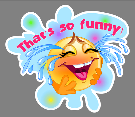 Laughing and crying emoticon sticker with blue background for me