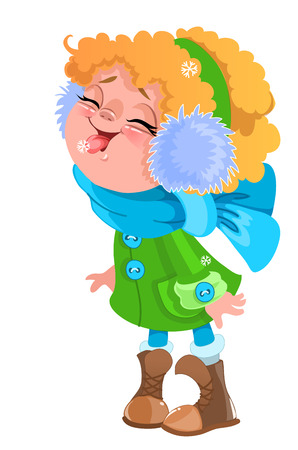 Let it snow. Kid cute girl in blue scarf eating snowflakes vector isolated clip art Illustration