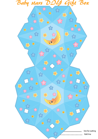Gift Box printable DIY template. Cartoon star, and moon baby pattern. Illustration