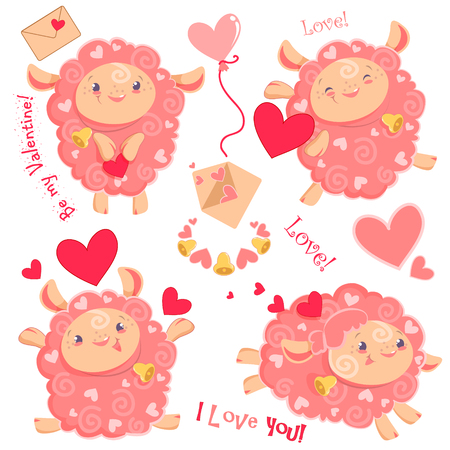 Vector illustration Valentine day clipart set of cute funny pink girl sheeps, hearts, letters, dancing running jumping staying with bell for kids and babies print and textile design, wall design, stickers Illustration