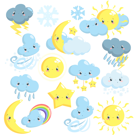 Cute weather icons collection with sun, moon, clouds, star, snowflakes, rain Illustration