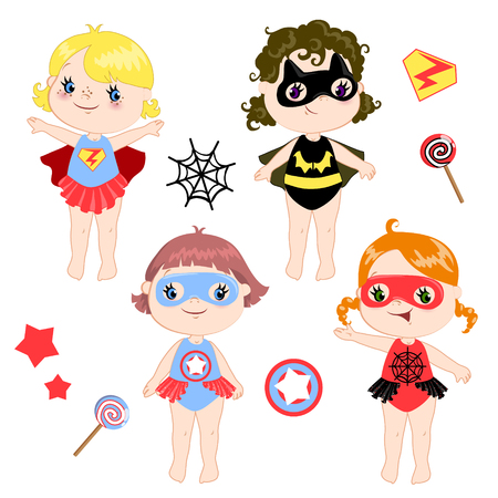Kids wearing colorful costumes of different superheroes retro set, isolated on white background cartoon vector illustration