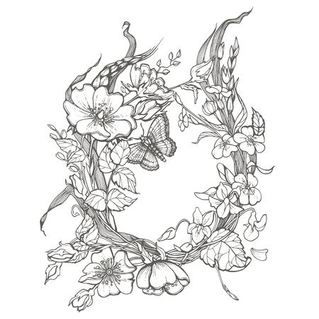 Chien sauvage rose fleurs cadre contour encre adulte coloriage page dessin clipart vectoriel sur fond blanc.