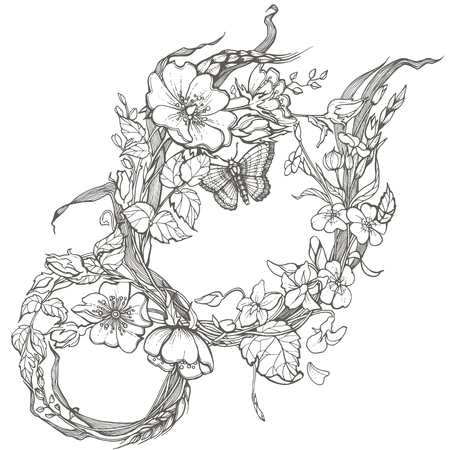 Wild dog rose flowers frame contour ink adult coloring page drawing vector clipart on white background. 일러스트