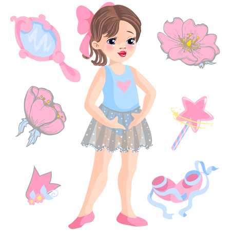 Vector illustration of little ballerina and other related items - magic wand, star, glitters and more.