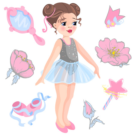 Vector illustration of little ballerina and other related items- magic wand, star, glitters, flower of rose, mirror, crown, tiara.