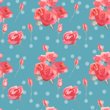 Roses flowers and buds pink blue vintage seamless pattern background Stock Photo