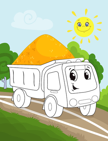 Coloring book page for preschool children with colorful background, and sketch big truck car for coloring