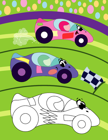 Coloring book page for preschool children with colorful background, and sketch sport car for coloring
