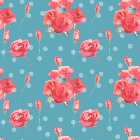 Roses flowers and buds pink blue vintage seamless pattern background for textile Stock Photo