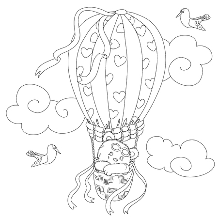 Coloring page for kids with a cute teddy bear flying in a hot air balloon and a funny seagull.