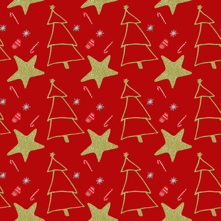 Seamless Christmas and New Year background pattern digital paper. Stock Photo