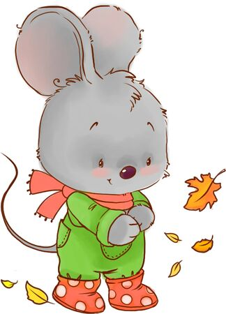 Cute mouse colored illustration. Fall baby animal clipart.