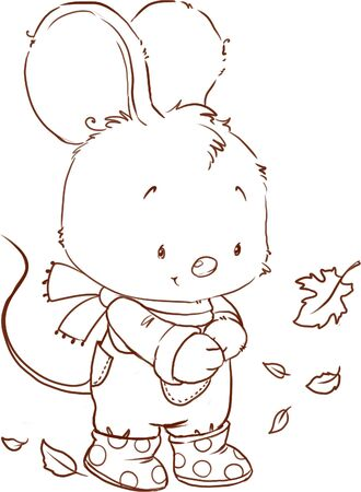 Cute mouse coloring page. Fall outlined clipart.