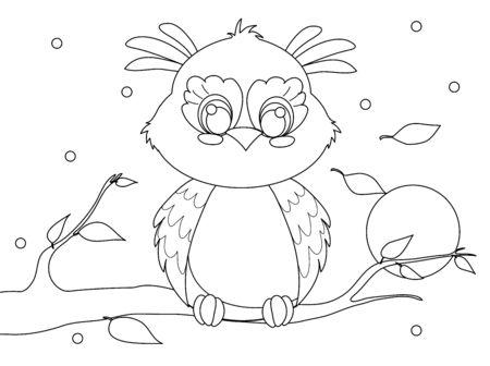 Cute cartoon owl clipart drawing sitting on a branch. Night.
