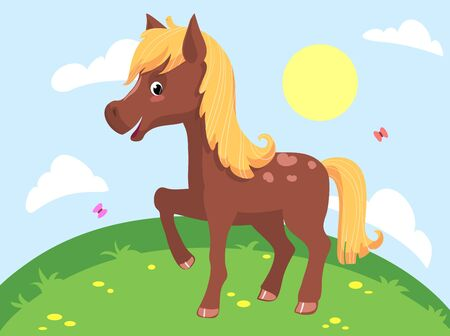 Illustration of a cute funny horse vector clipart
