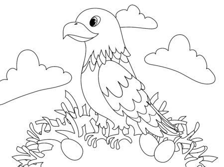 Cute eagle vector clipart coloring page contour background.