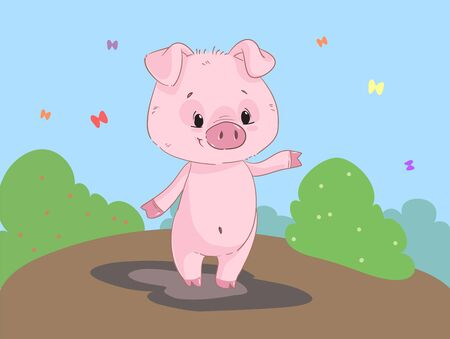 Cute funny pig cartoon clipart with background Illustration